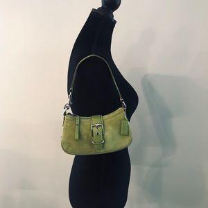Coach light green suede/leather shoulder bag